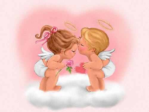 Angelitos enamorados Imágenes tiernas de ángeles