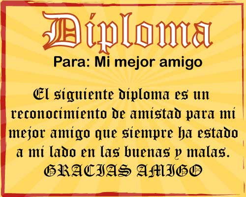 Diploma para mejor amigo