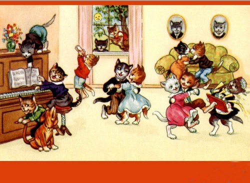 party cats dance vintage cp e1340397932921 Postales de gatitos