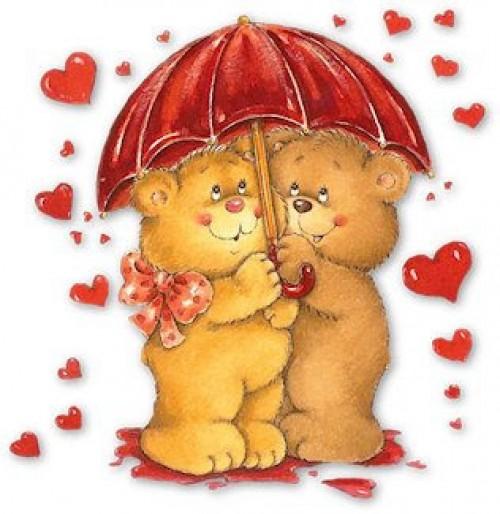osos amorosos lluvia de corazones e1341590393561 Imágenes románticas de ositos