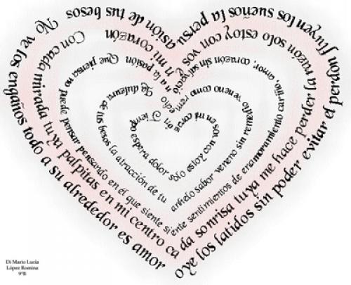 Hermosa imagen de amor con forma de corazón, este caligrama contiene