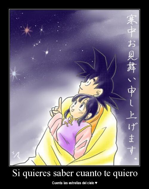 """estrellas goku Imágenes con mensaje: """"Si quieres saber cuánto te quiero cuenta las estrellas del cielo"""""""