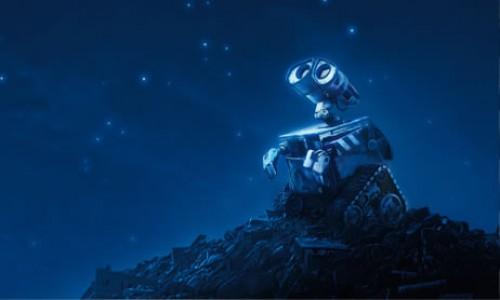 wall-e mirando las estrellas