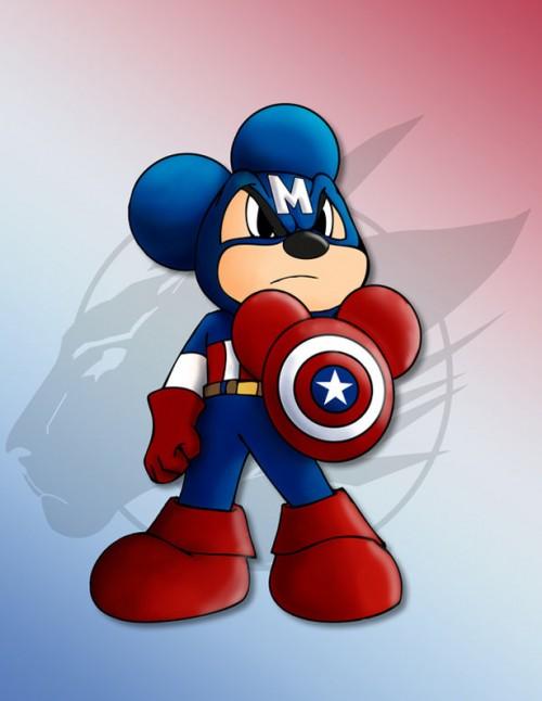 Mickey disfrazado de Capitan america
