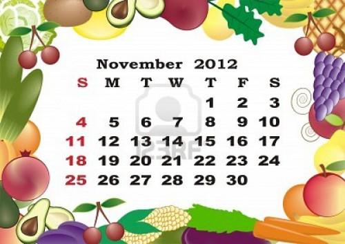 2012 calendario mensual en el marco de colorido e1351784319699 Imágenes de Calendario Noviembre 2012