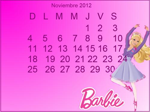 BARBIE CALENDARIO noviembre 2012 e1351784344611 Imágenes de Calendario Noviembre 2012