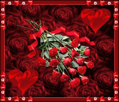 rosas roja y corazones