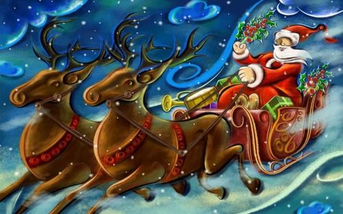 Papá Noel en el trineo con sus buenos renos