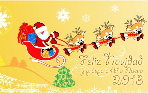 imagenes para navidad y año nuevo 2013 con mensajes para compartir santa claus renos amarillo e1356789048366 Postales de Feliz año nuevo 2013