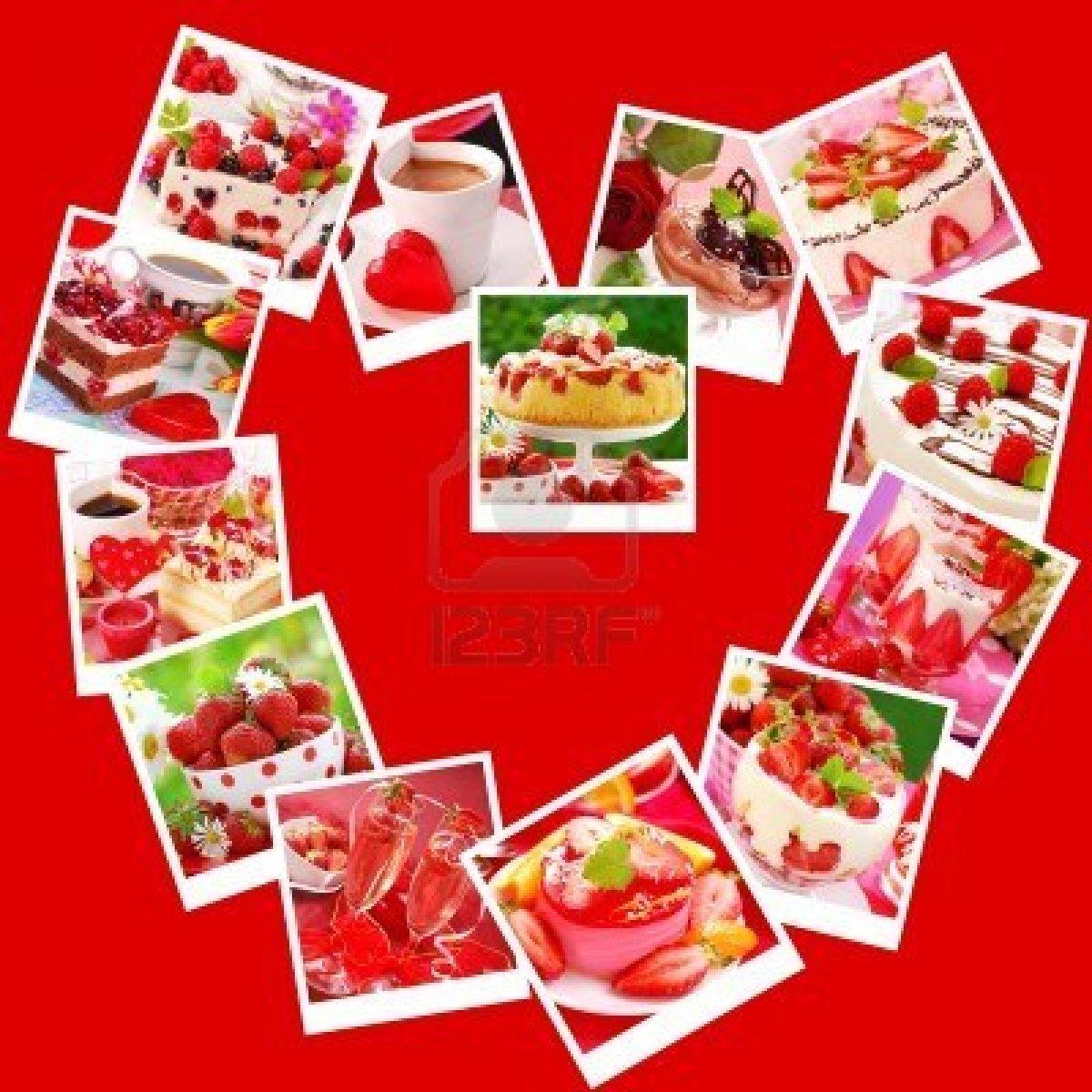 8742957 postres dulces y pasteles para el partido collage de san valentin con imagenes dispuestos en forma d Collages para el día de los enamorados