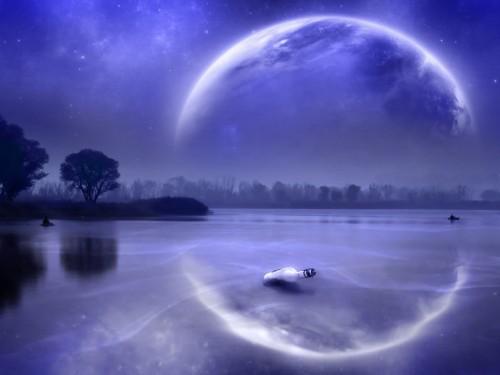reflejo paisaje nocturno