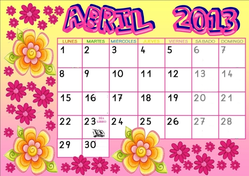 CALENDARIO ABRIL COLEDECOLORES Calendarios del mes de Abril 2013