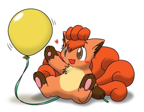Vulpix and balloon 1 by Wingfox Imágenes Tiernas de Vulpix