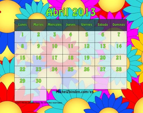 calendario abril 2013 flores l Calendarios del mes de Abril 2013