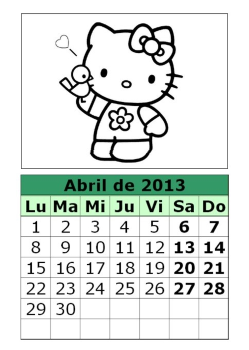 calendario abril 2013 para colorear Hello Kitty Calendarios del mes de Abril 2013