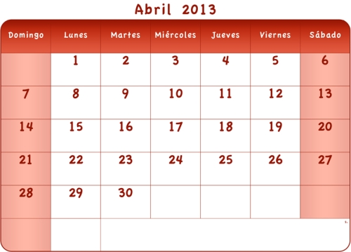 calendario abril 2013 rojo d Calendarios del mes de Abril 2013