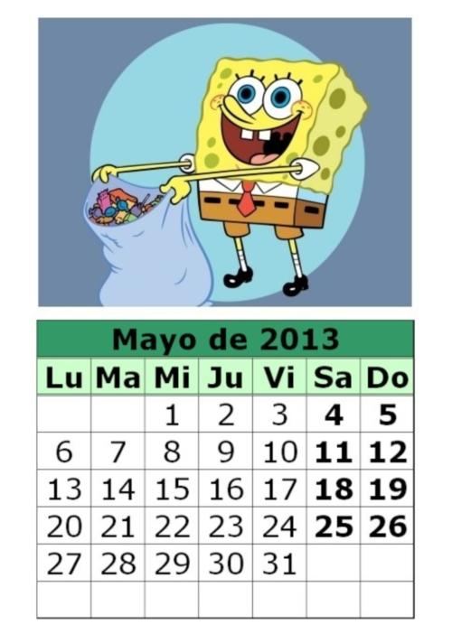 calendario mayo 2013 Bob Esponja Calendarios del mes de Mayo 2013
