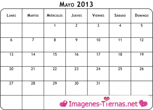 calendario mayo 2013 blanco l Calendarios del mes de Mayo 2013