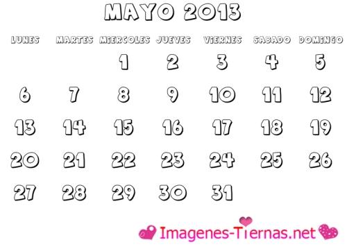 calendario mayo 2013 para colorear l Calendarios del mes de Mayo 2013