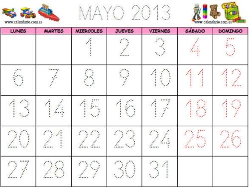 calendario infantil mayo 2013 Calendarios del mes de Mayo 2013