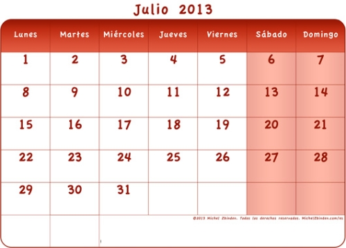 calendario julio 2013 rojo l Calendarios del mes de Julio 2013