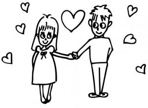dibujo de pareja de novios