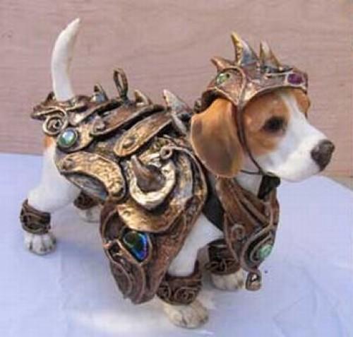 Canino con armadura