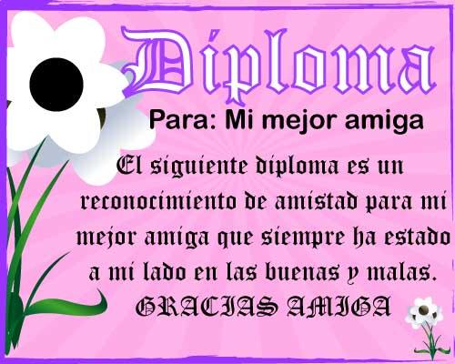 Diploma para mejor amiga