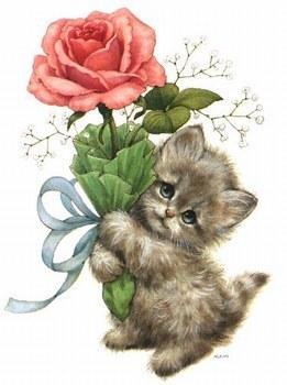 gatitos con rosas