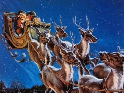 santa claus y sus renos