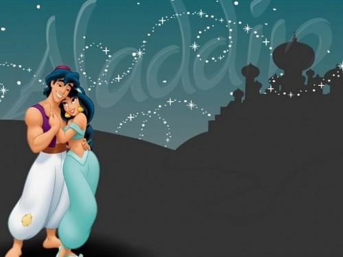 aladdin y Jasmin abrazo