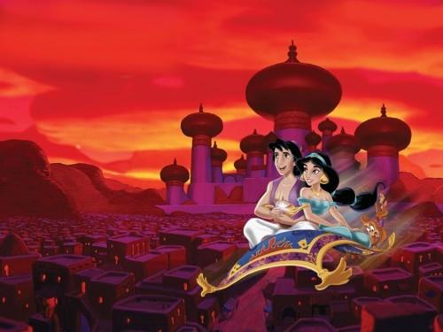 aladdin y Jazmin en la alfombra