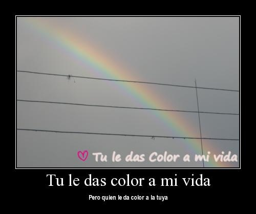 Tu le das color a mi vida