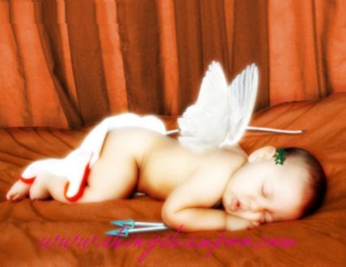 Bebes con disfraces de Cupido