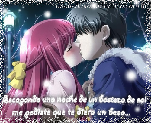 besos animes con frases