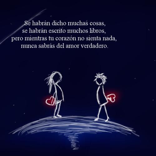 Se habrán dicho muchas cosas, se habrán escrito muchos libros, pero mientras tu corazón no sienta nada, sabrás del amor verdadero
